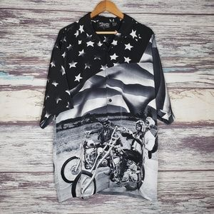 Easy rider black and white graphic button down